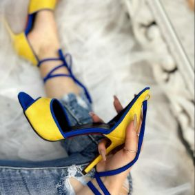 VELOUR LACE UP THIN HEEL SANDALS - YELLOW/BLUE