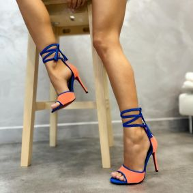 VELOUR LACE UP THIN HEEL SANDALS - CORAL/BLUE