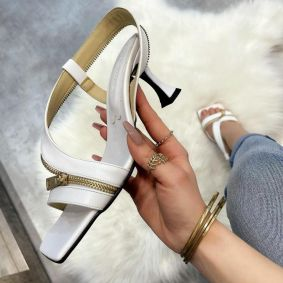 THIN HEEL SANDALS WITH ZIPPER - WHITE