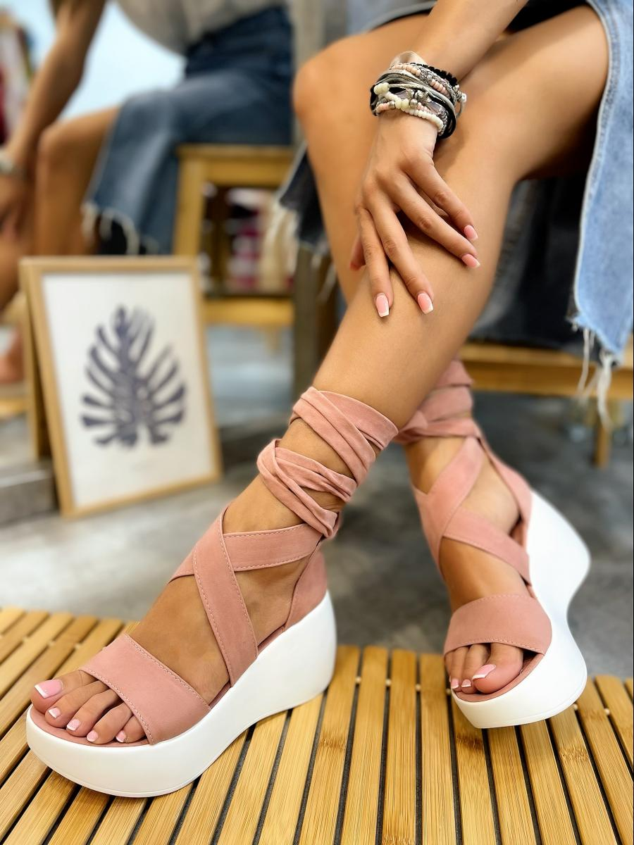 VELOUR PLATFORM LACE UP SANDALS - POWDER ROSE