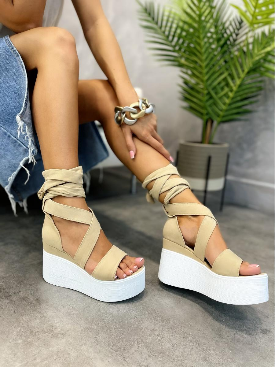 VELOUR PLATFORM LACE UP SANDALS - BEIGE