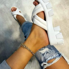 CROSS - STRAP HIGH SOLE SLIPPERS - WHITE