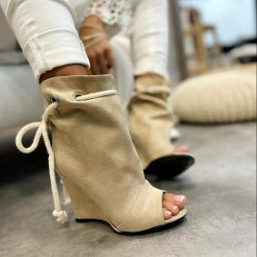 WEDGE VELOUR ANKLE BOOTS PEEP TOE - BEIGE