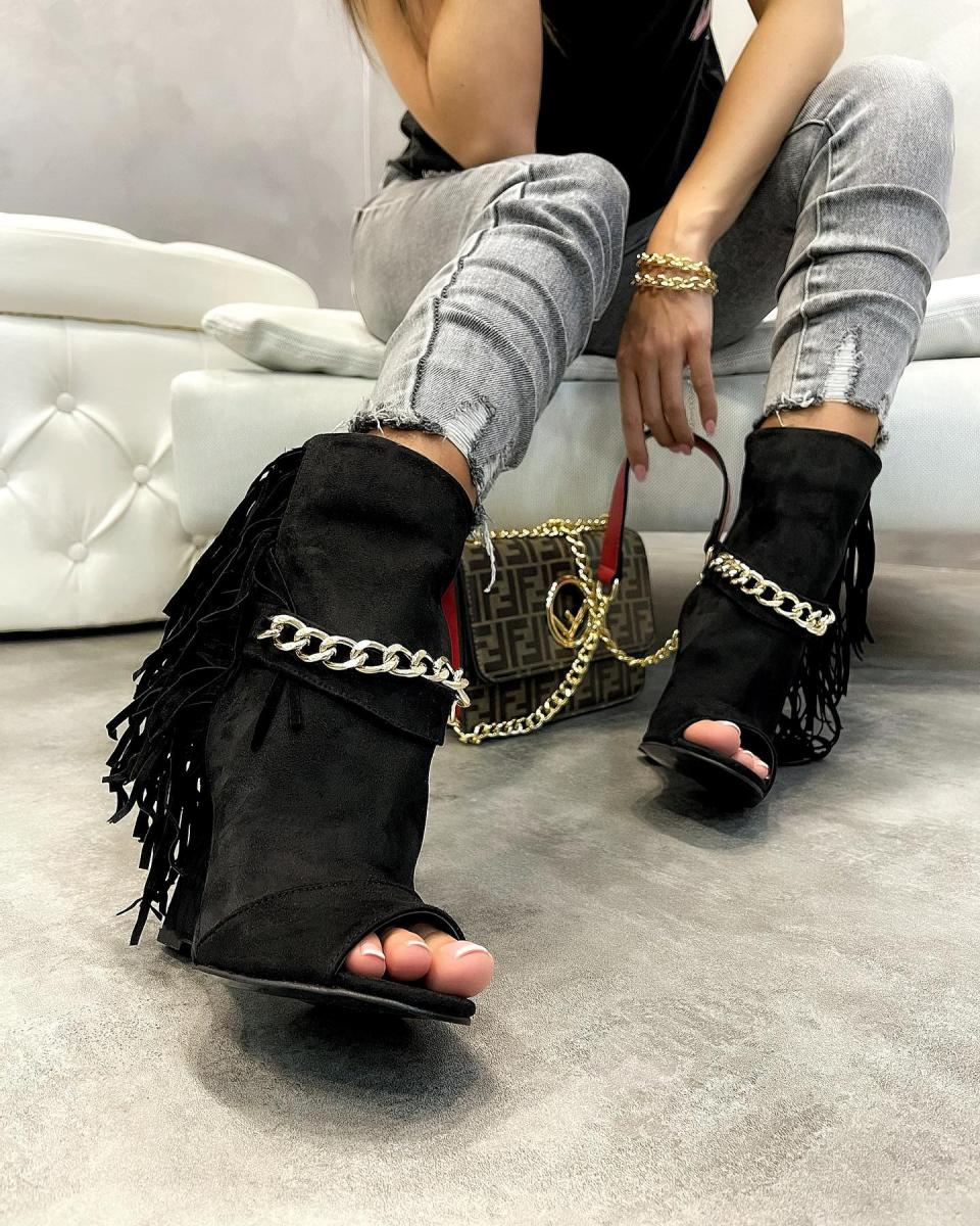 WEDGE VELOUR ANKLE BOOTS WITH FRINGE - BLACK