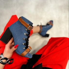 PEEP TOE ANKLE BOOTS WITH BELTS AND BLOCK HEEL - BLUE