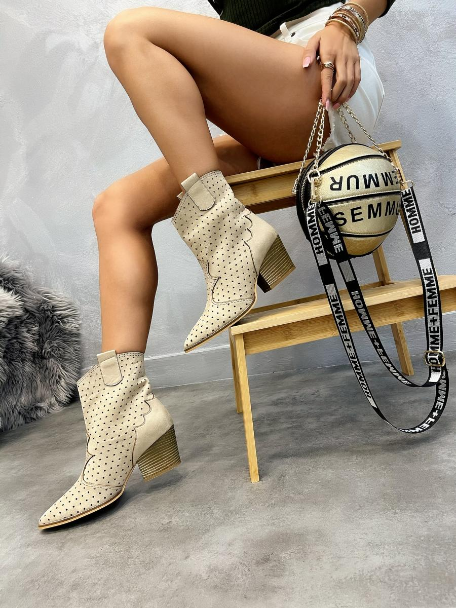 HOLLOW COWGIRL ANKLE BOOTS WITH THICK HEEL - BEIGE