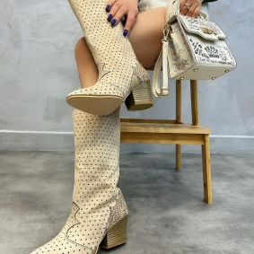 HOLLOW VELOUR HIGH COWGIRL BOOTS THICK HEEL - BEIGE