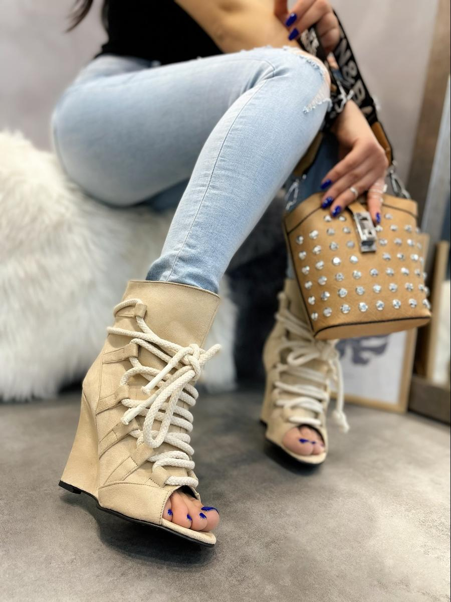VELOUR WEDGE PEEP TOE ANKLE BOOTS - BEIGE
