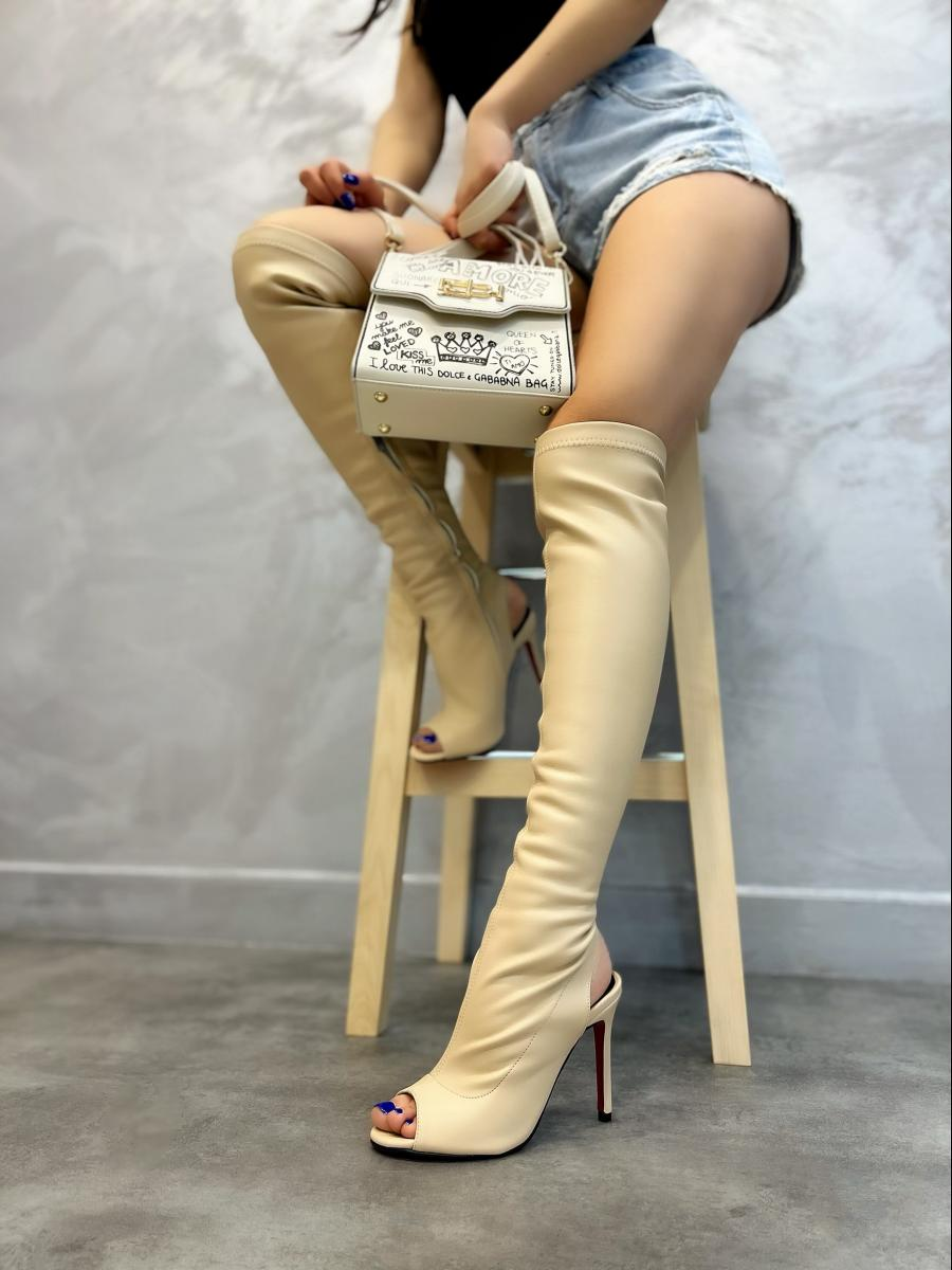 PEEP TOE HIGH BOOTS WITH THIN HEEL - BEIGE