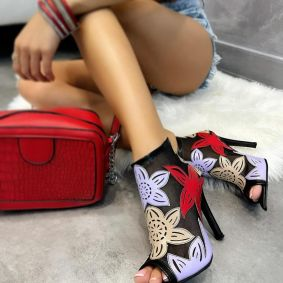 FLOWER PRINT SUMMER ANKLE BOOTS WITH THIN HEEL - BLACK