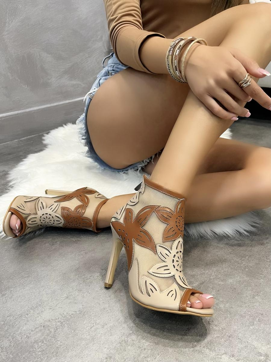 FLOWER PRINT SUMMER ANKLE BOOTS WITH THIN HEEL - BEIGE/CAMEL