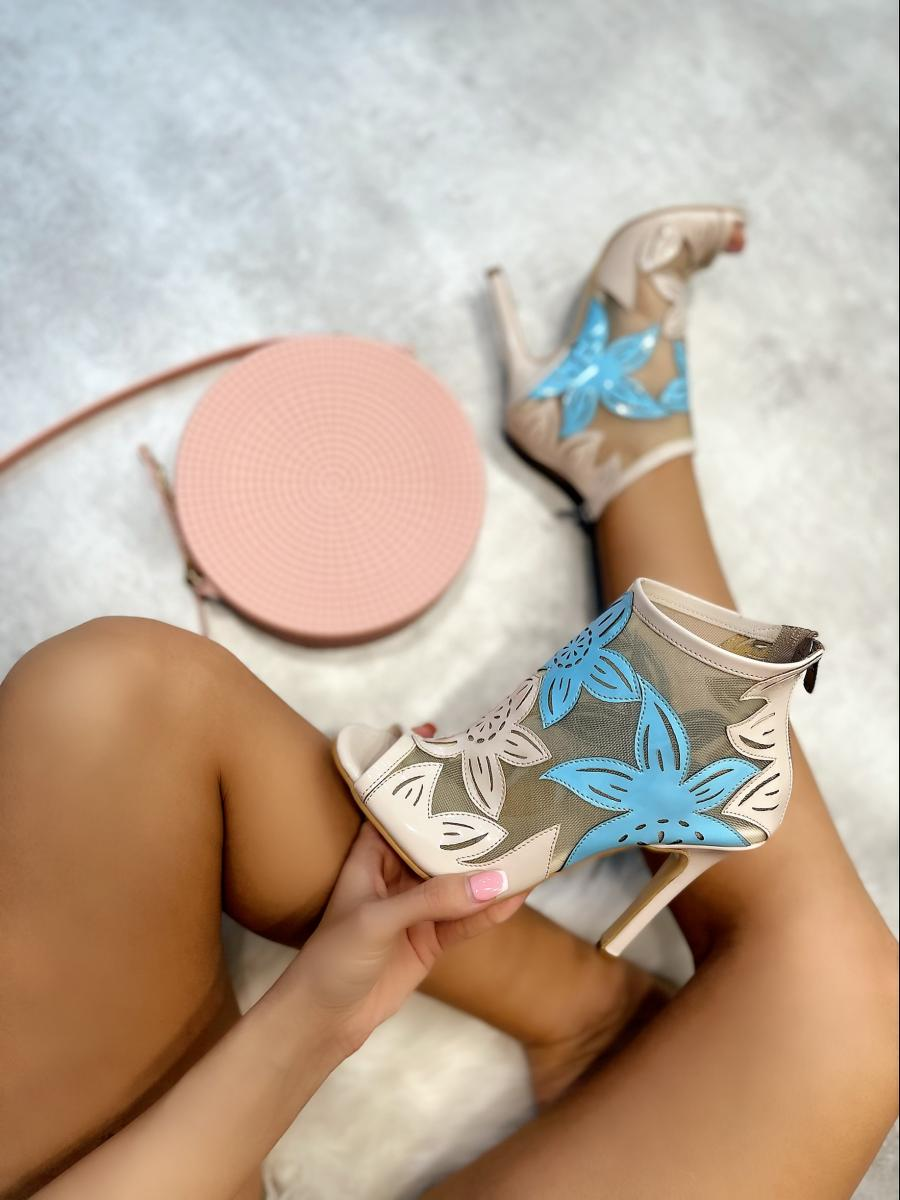 FLOWER PRINT SUMMER ANKLE BOOTS WITH THIN HEEL - BEIGE/BLUE