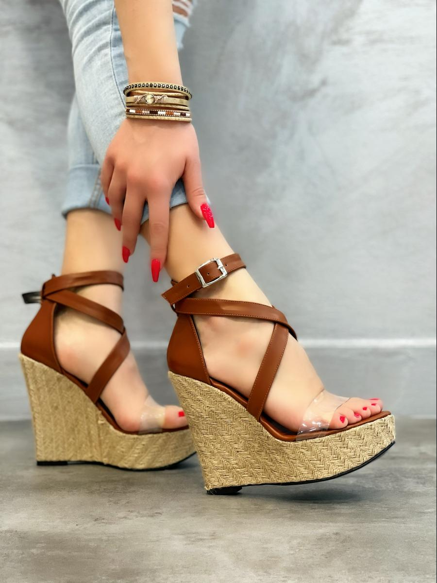 WEDGE SANDALS WITH BELT - CAMEL