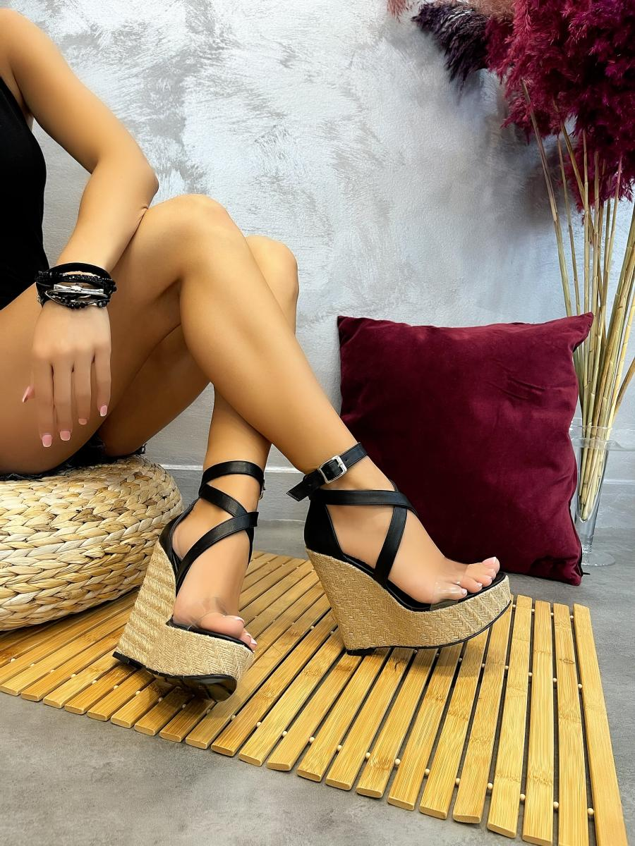WEDGE SANDALS WITH BELT - BLACK
