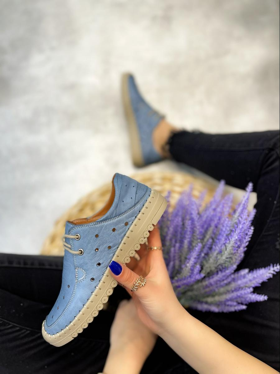 LEATHER HOLLOW MOCCASINS -  BLUE