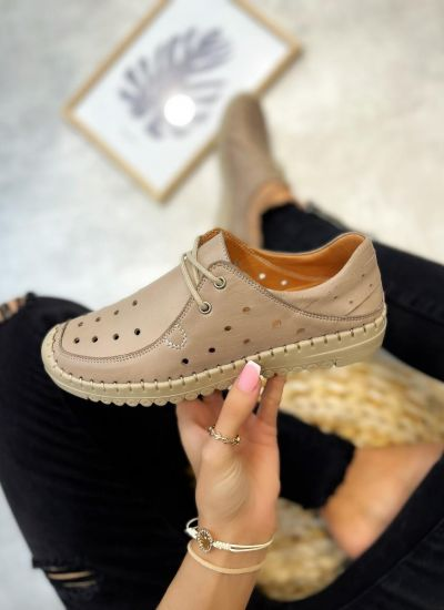 Flat leather shoes LYRA - BEIGE