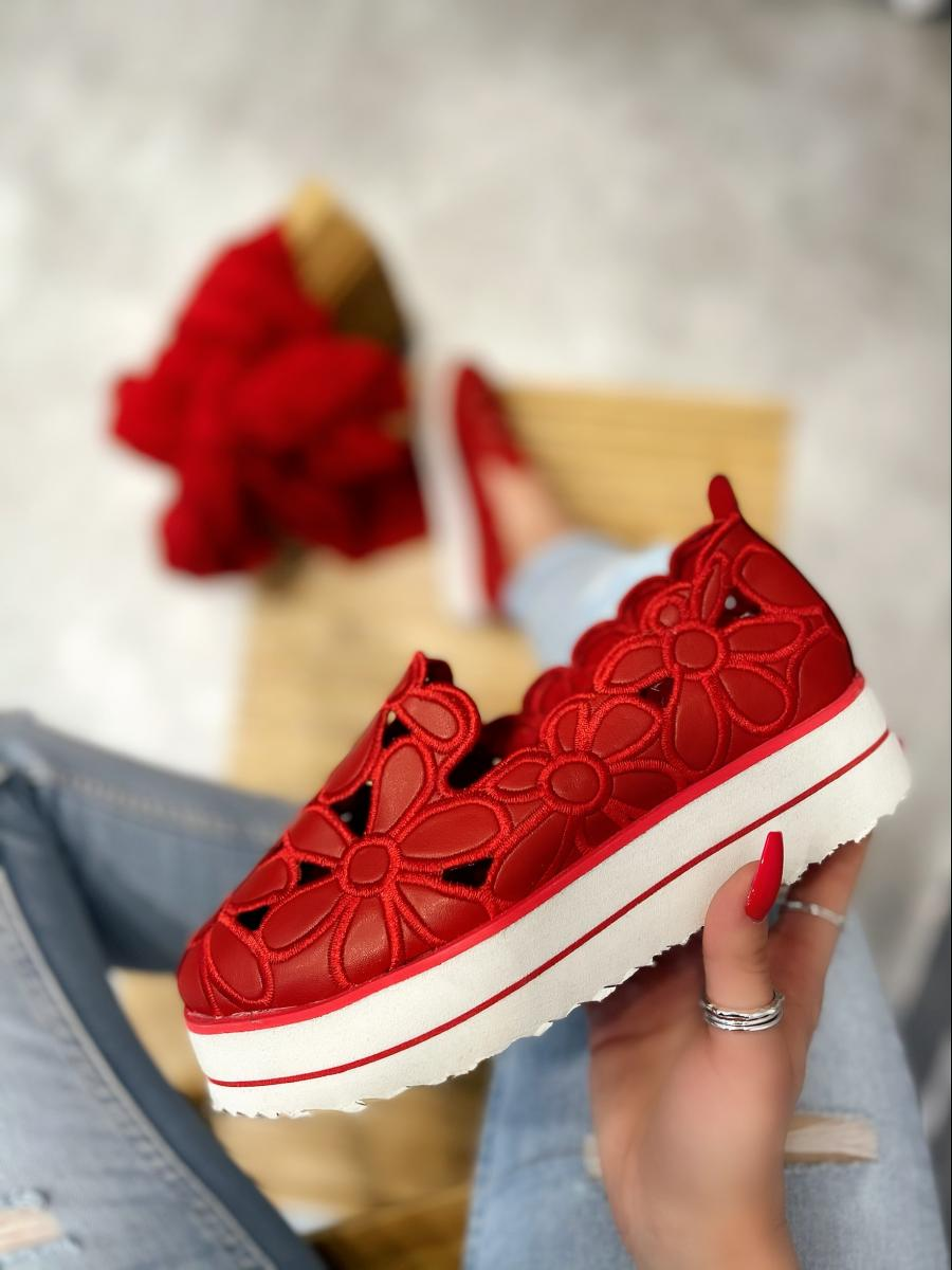 FLOWER PRINT SHOES WITH HIGH SOLE - RED