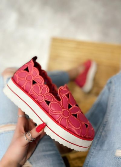 FLOWER PRINT SHOES WITH HIGH SOLE - PINK
