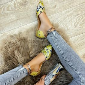 FLOWER PRINT POINTED FLATS - GREEN