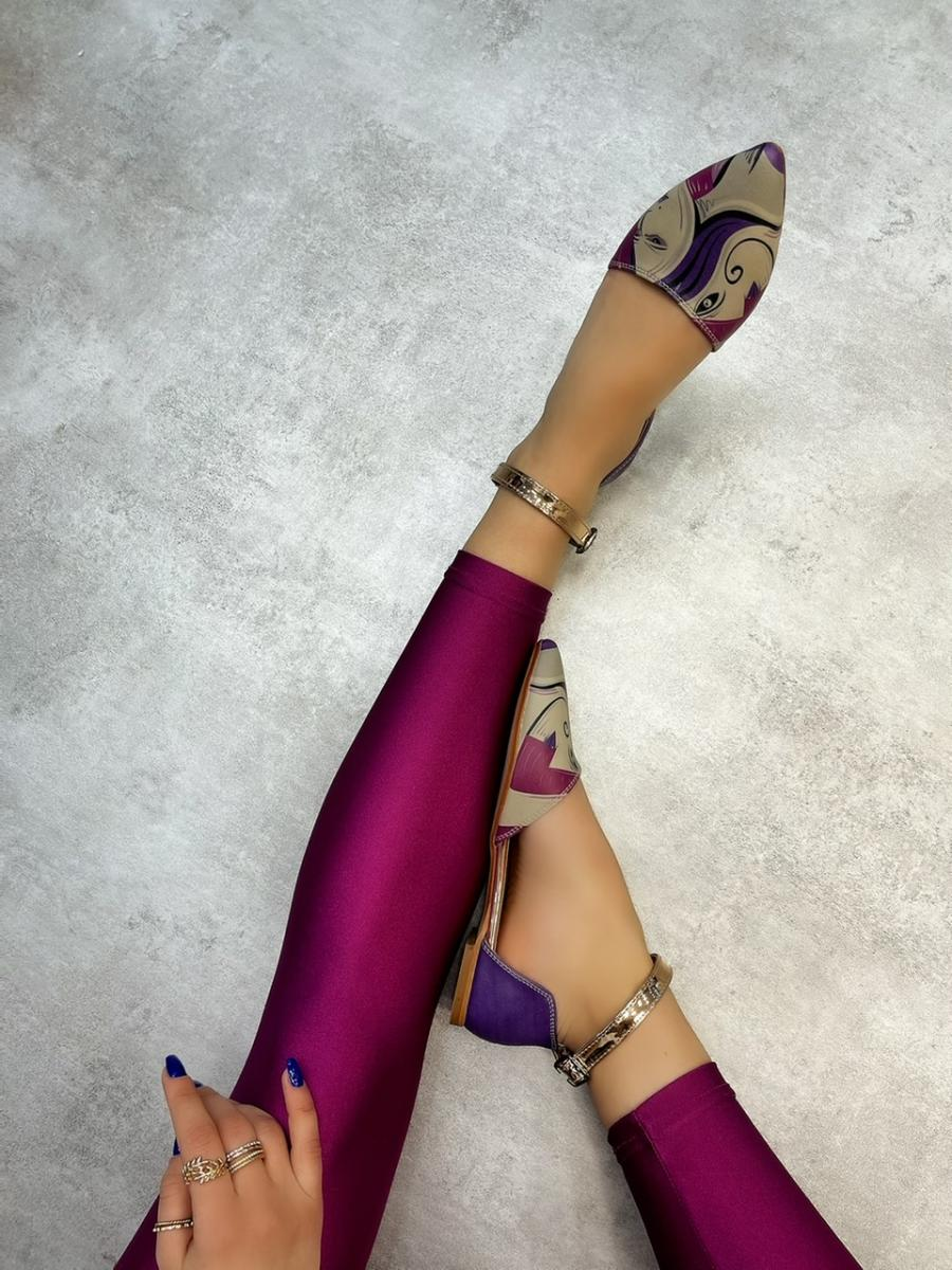 GIRL POINTED FLATS - PURPLE