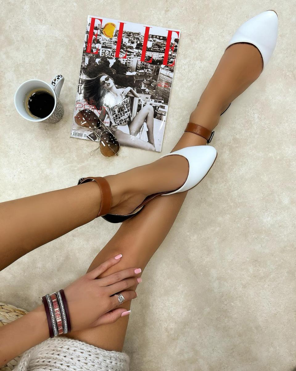 FLATS WITH BELT - BLACK/BROWN/WHITE