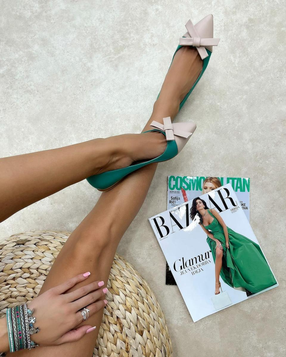 FLATS WITH BOW - GREEN/BEIGE