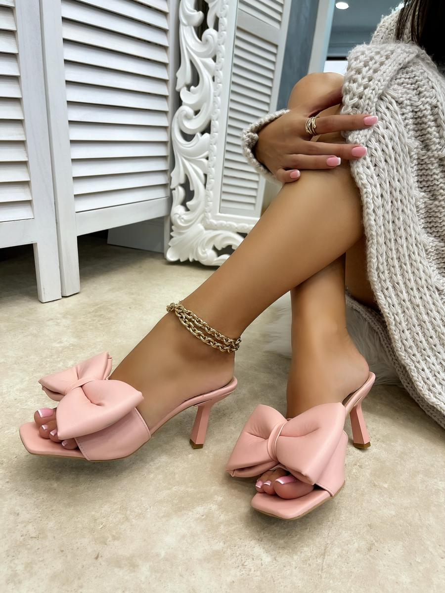 MULES WITH BOW AND THIN HEEL - ROSE
