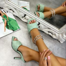 SAW MULES ON THIN HEEL - GREEN