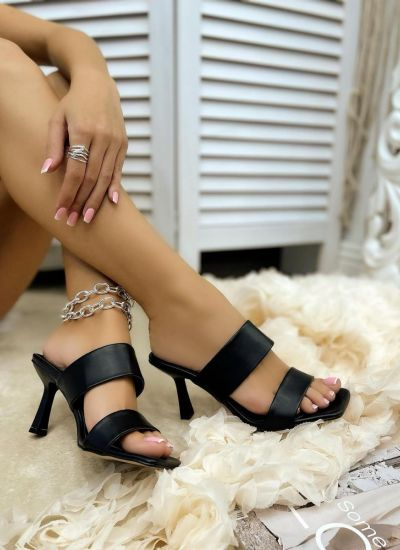 MULES WITH THIN HEEL AND BELTS - BLACK