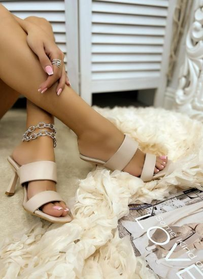 MULES WITH THIN HEEL AND BELTS - BEIGE