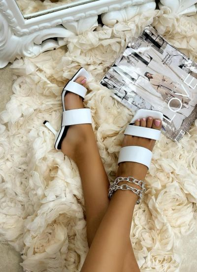 MULES WITH THIN HEEL AND BELTS - WHITE