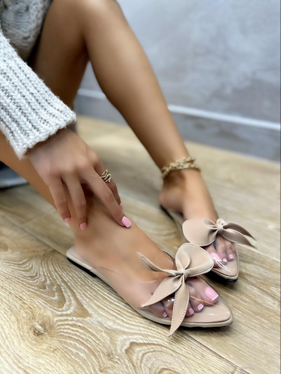 FLAT TRANSPARENT MULES WITH BOW - BEIGE