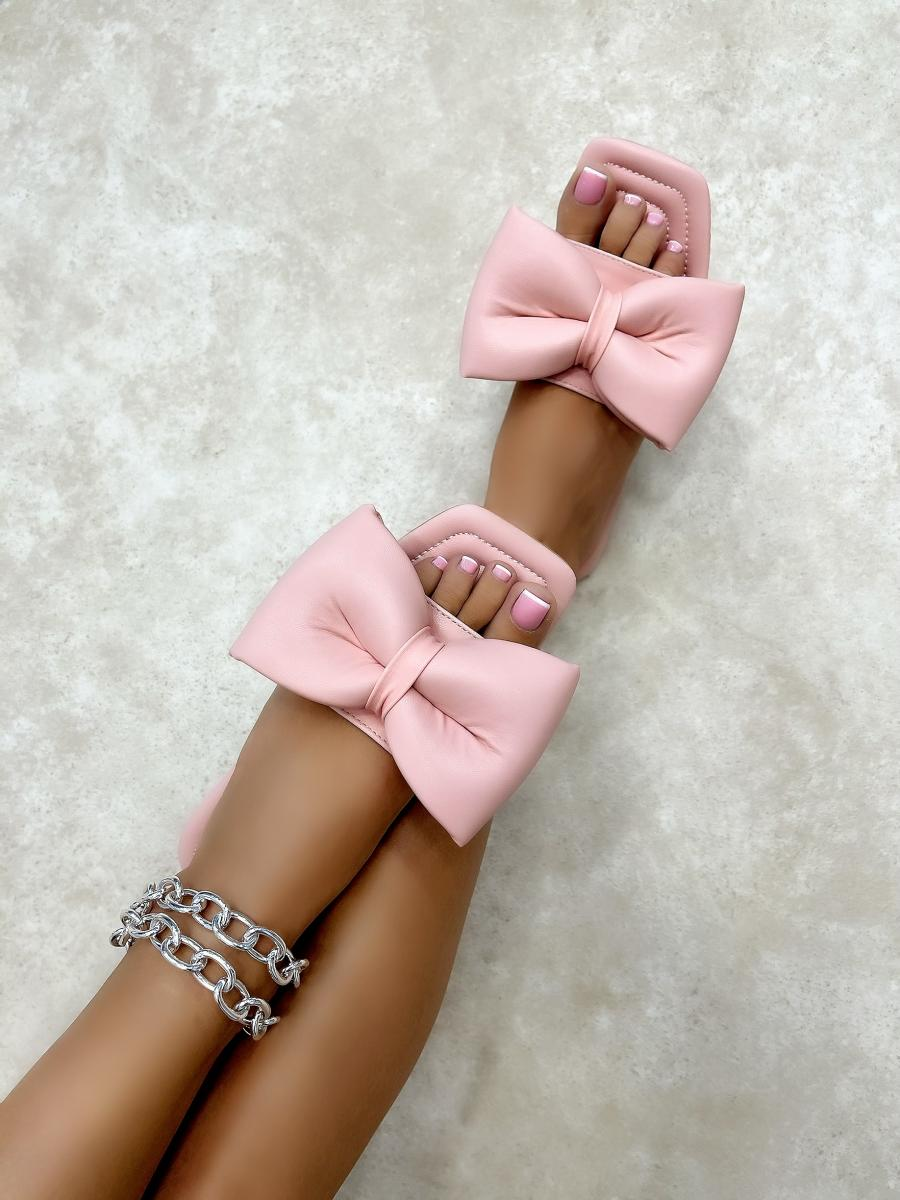 FLAT MULES WITH BOW - ROSE
