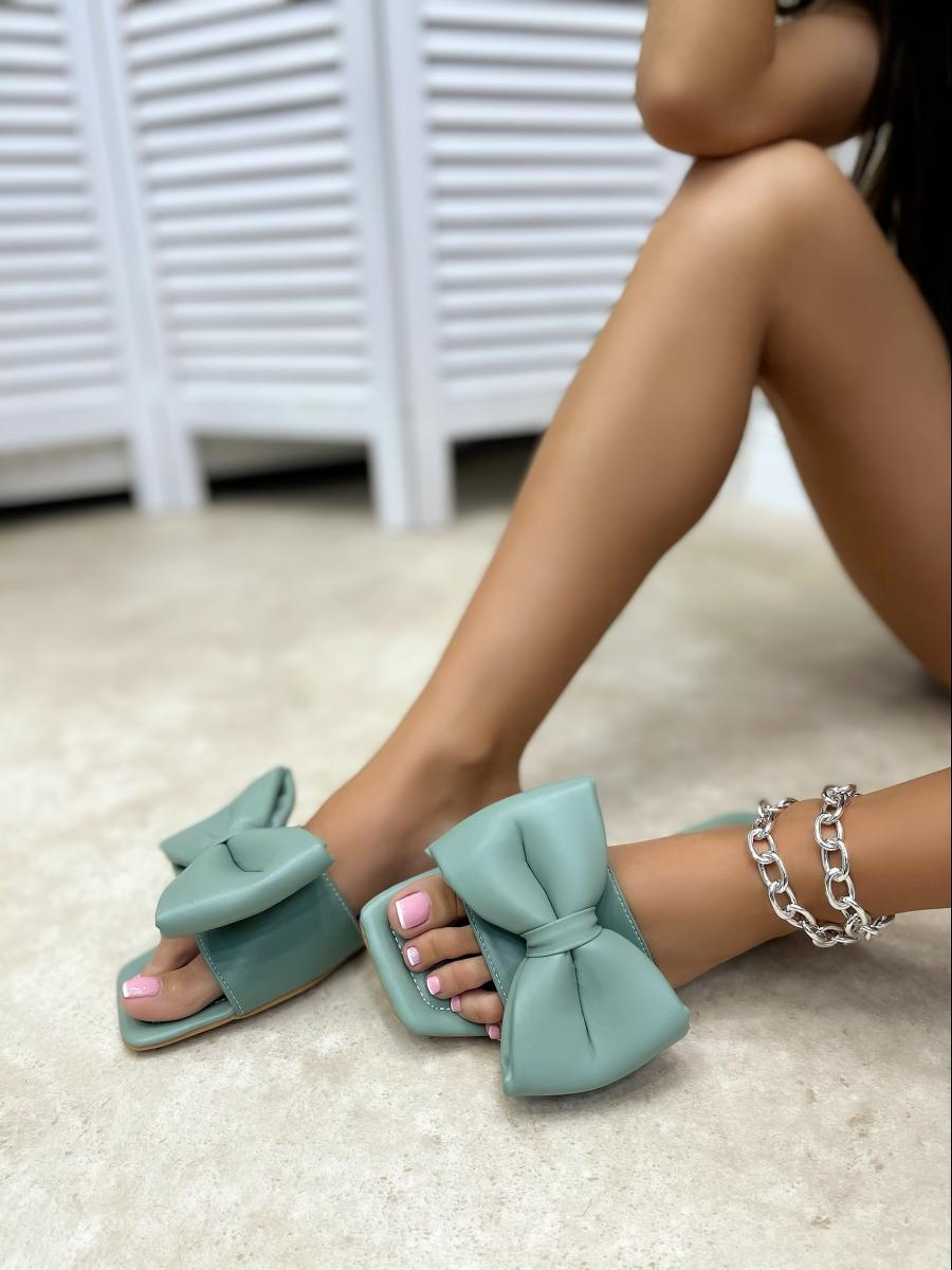 FLAT MULES WITH BOW - GREEN