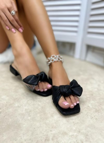 MULES WITH LOW HEEL AND BOW - BLACK