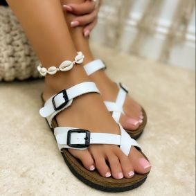 TOE LOOP SLIPPERS WITH BELTS - WHITE