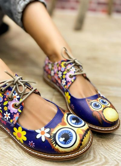 LACE UP SHOES WITH OWL -BLUE