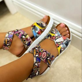 ROMAN SANDALS WITH PRINT - ROSE