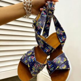 ROMAN SANDALS WITH PRINT - BLUE