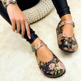 Leather sandals ROZA - MULTICOLOR