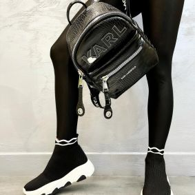 STRETCH PULL ON SNEAKERS WITH WHITE SOLE - BLACK
