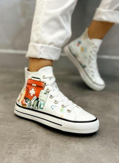 MEDICAL PRINT ANKLE SNEAKERS - WHITE