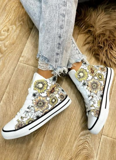 FLOWER PRINT ANKLE SNEAKERS - WHITE