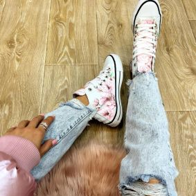 FLOWER PRINT ANKLE SNEAKERS - WHITE/ROSE