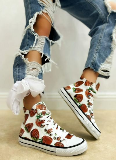 STRAWBERRY ANKLE SNEAKERS - WHITE