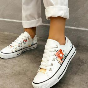 MEDICAL PRINT SNEAKERS - WHITE