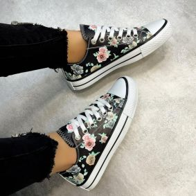 FLOWER PRINT SNEAKERS - BLACK