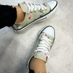 FLOWER PRINT SNEAKERS - BEIGE
