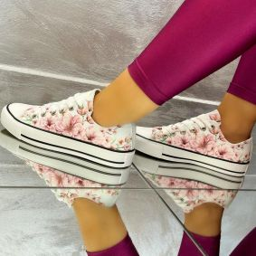 SHALLOW SNEAKERS WITH FLOWER PRINT - WHITE