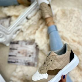 SAW SNEAKERS WITH HIGH SOLE - BEIGE